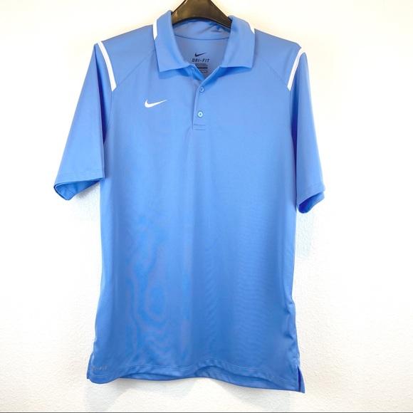 Nike Dri-Fit Golf Shirt Light Blue White Medium